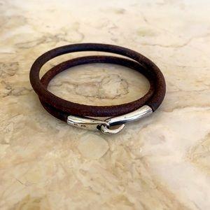 Double Wrap Leather & Sterling Hook Bracelet